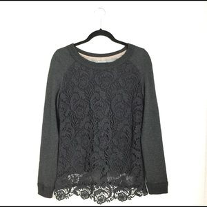 Maurices Sweater With Cotton Lace Overlay .
